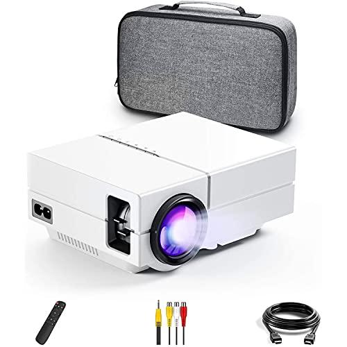 DOOK Proyector, Mini Proyector Full HD 5000 Lumen, Proyector con Bolsa Portatil Cine en Casa de 200 Pulgadas 1080P Compatible con PS4, PC a Través de HDMI, VGA, TF, AV y USB (Blanco)