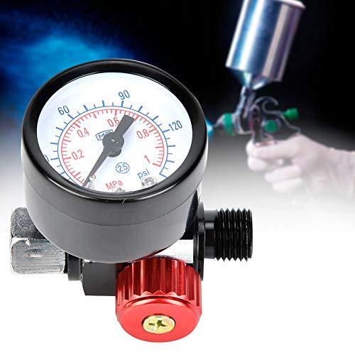 Luchtregelaar, BSP 1/4 inch luchtregelaar, aluminiumlegering manometer voor pneumatisch gereedschap met spuitpistool, klein formaat, licht van gewicht en eenvoudig te installeren, eenvoudig te bediene