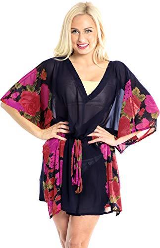 LA LEELA Chiffon Copricostume Mare Donna - Copri Corto Bikini up sui Costume da Bagno Kimono Vestito Lungo Estate Boho Coulisse Collo a V Kaftan Tunica Etnica Abito da Spiaggia Casual Vestito per Vaca