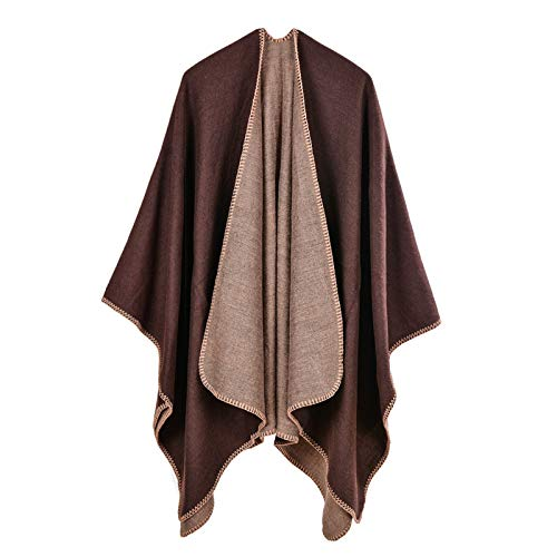 MeOkey Poncho para Mujer de Invierno Cárdigan de Elegante Abrigada Calentito Diseño Casual Simple Manta Chal 150 x 130 CM