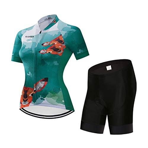 HAOHOAWU Camiseta De Ciclismo Mujer, Ropa De Bicicleta De Carretera Zapatillas con...
