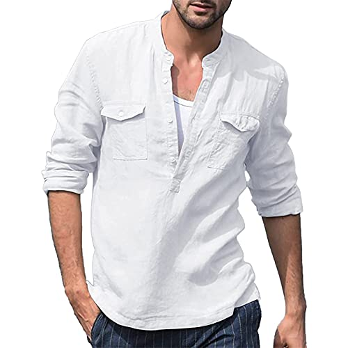 NEWISTAR Camisa de manga larga para hombre liso casual de lino Henley Camisas cuello en V holgadas de algodón
