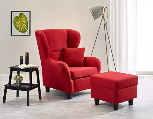 lifestyle4living Ohrensessel mit Hocker in Rot im Landhausstil | Der perfekte Sessel für entspannte, Lange Fernseh- und Leseabende