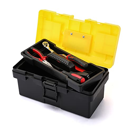 CASOMAN 14-inch Plastic Tool Box with Tray and Dividers, Storage and Toolbox for Tool or Craft Storage,Locking Lid and Extra Storage.