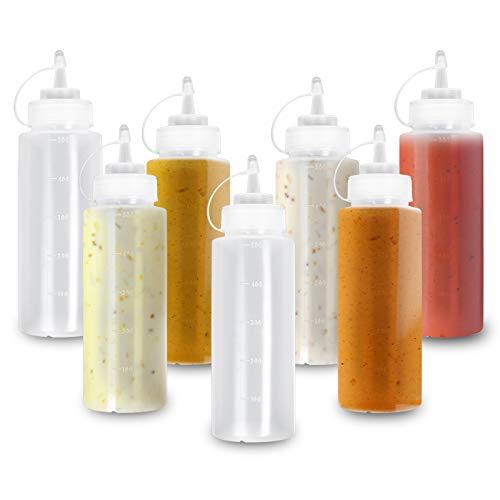 8 (Grande 500ml) Biberon Salsas con Tapas de Rosca| Dispensador de Botellas de Plástico para Condimentos Ketchup Mostaza Vinagre Salsa Aceite| a Prueba de Fugas, Resistente y Sin BPA