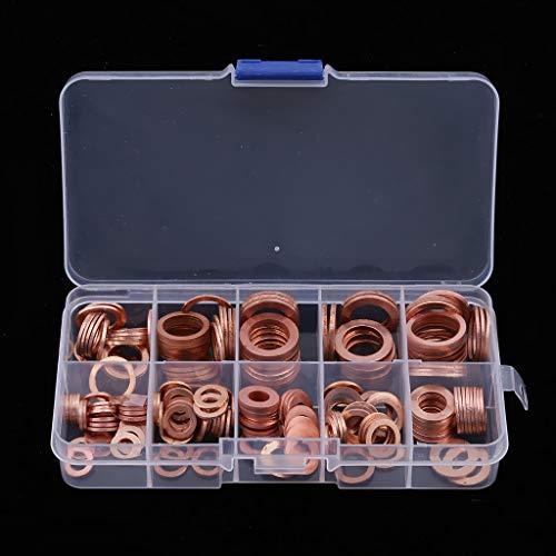 CROSYO 200pcs motor motor aceite pluma junta de cobre lavadora eléctrica sellado anillo surtido sumidero enchufe lavadora 9 tamizar para barcos yate