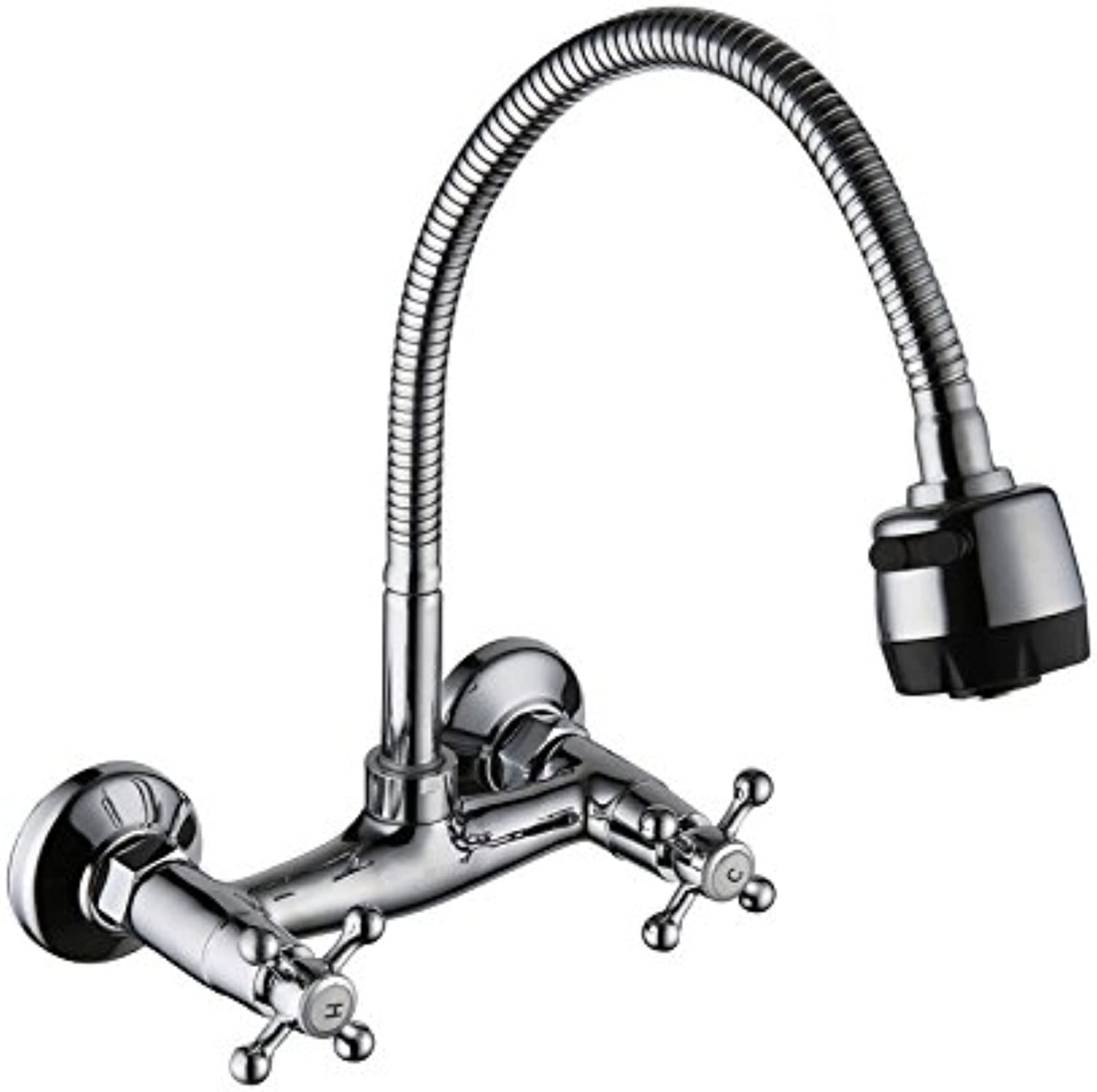 Commercial Single Lever Pull Down Kitchen Sink Faucet Brass Constructed Polished Double-in-Wall Kitchen Sink, Hot and Cold Water Faucet, Stainless Steel