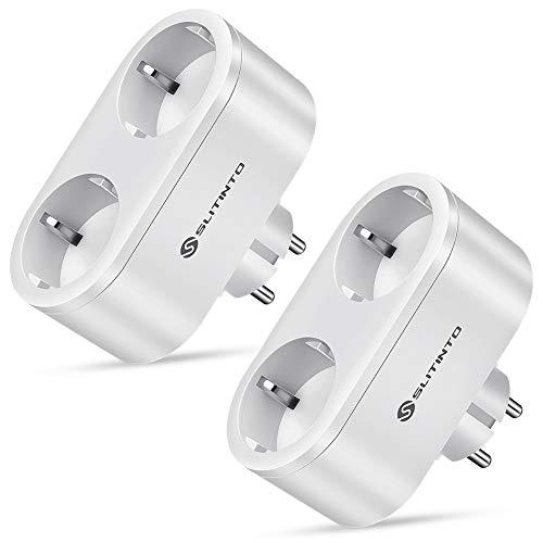 Slitinto 2 in 1 Presa Intelligente WiFi Smart Plug Compatibile con Alexa,Google Home e IFTTT,con Energy Monitor e Funzione di Temporizzazione E' Possibile Utilizzare l'APP per Controllare 16A - 2 Pack