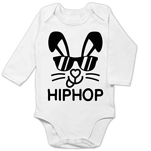 Shirtracer Ostern Baby - Hiphop Hase mit Sonnenbrille - schwarz - 3/6 Monate - Weiß - Baby Sonnenbrille - BZ30 - Baby Body Langarm