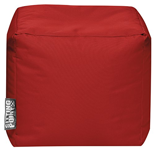 Sitting Point Gouchee Home Brava Cube Collection Contemporary Polyester Fabric Upholstered Square Pouf/Ottoman, Red