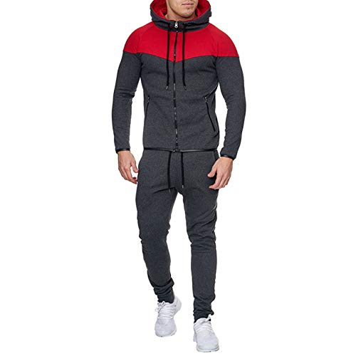 JX-PEP Conjunto de chándal para hombre al aire libre con capucha y pantalones deportivos con capucha, pantalones deportivos, color gris 2, XXL