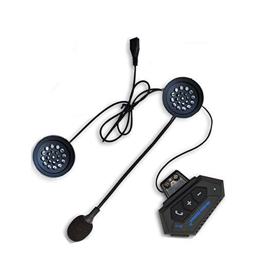 T2 Bluetooth 4.2 Intercom Casco de la Motocicleta Auriculares BT Wireless Walkie Moto Estéreo Interphone Manos Libres con micrófono (Color : A)