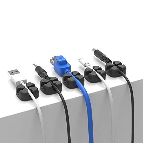 Wffo Organizador de cables Cross Slicone, organizador de escritorio, soporte de cable para auriculares (negro)