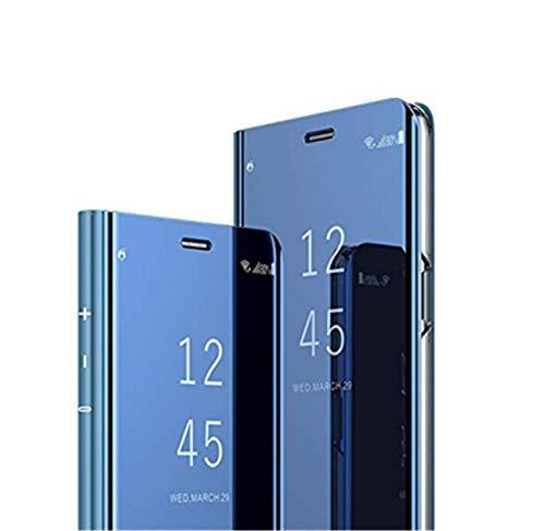 Jancyu kompatibel mit Hülle Huawei P30 Pro Spiegel Schutzhülle Huawei P30 Hart Handy Case 360-Grad-Schutz Flip Electroplate Stand Ledertasche (Blau, Huawei P30)
