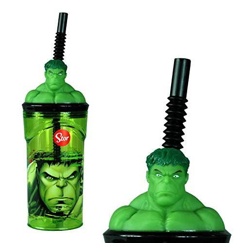 The Hulk 3D Figurine Plastic Tumbler Beaker with Flexi Straw - 360ml - 7cm Diameter x 14cm Height - Sturdy Novelty Enclosed Drinking Cup.