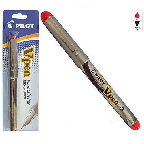 Pilot Vpen - Pluma estilográfica (tamaño mediano, punta de acero), color rojo
