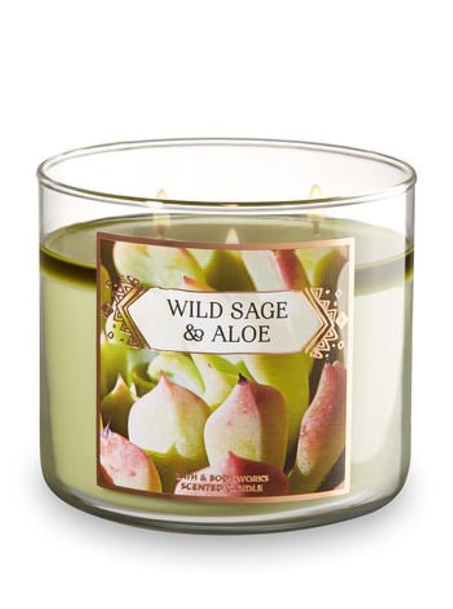 とても大破メニューBath and Body Works Wild Sage andアロエ香りつき3-wick Candle 14.5オンス