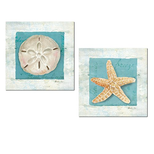 Lovely Relaxing Spa Nautical Starfish and Sand Dollar Set by Danhui Nai; Coastal Decor; Two 12x12in Unframed Paper Posters