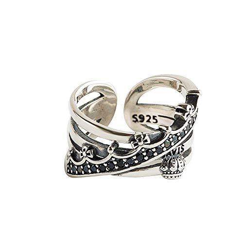 Anello aperto in argento Sterling S925, ragazze semplice personalizzato pietra intarsiato temperamento argento anello Retrò Corona Thai gioielli d'argento