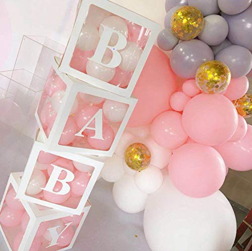 4PCS Balloon Box for Baby Shower Decorations For Boy, Girl And Neutral. Gender Reveal Balloon Decorative Blocks With 3 Pack Letters BABY. Set Include 4pcs White Transparent Balloon Box For 1st Birthday Party Decor.