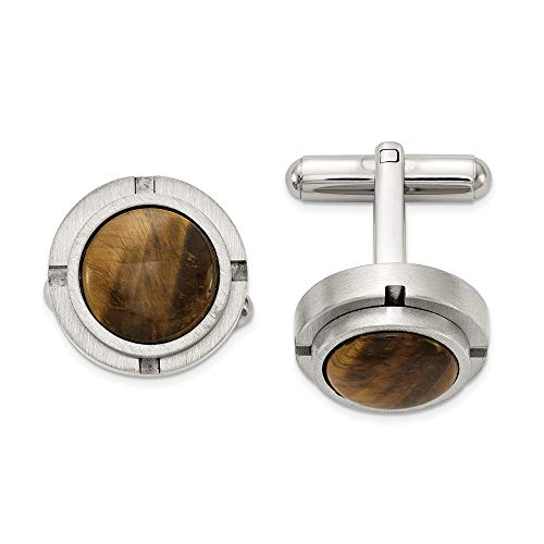Ryan Jonathan Fine Jewelry Stainless Steel Brushed and Polished with Tiger's Eye Cuff Links