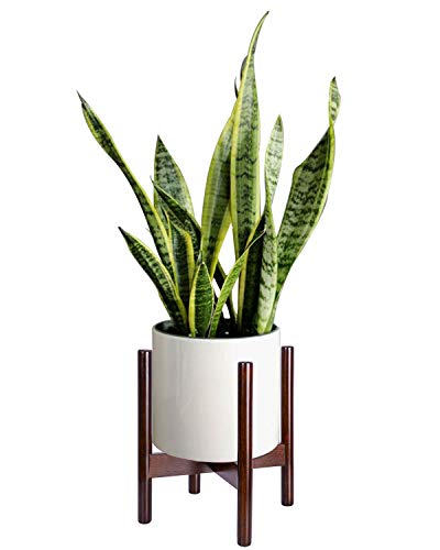 TIMEYARD Mid Century Plant Stand Indoor - Best Fits 12in Planter, Large Wood Display Flower Pot Stand, Modern Home Decor (Planter Not Included)
