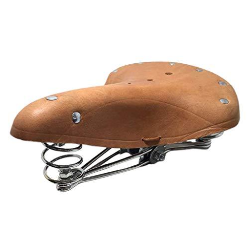 chiwanji Asiento Universal Clásico Retro de Cuero de Piel de Vacuno para Bicicleta de Carretera (marrón) - Marrón con Cuerda
