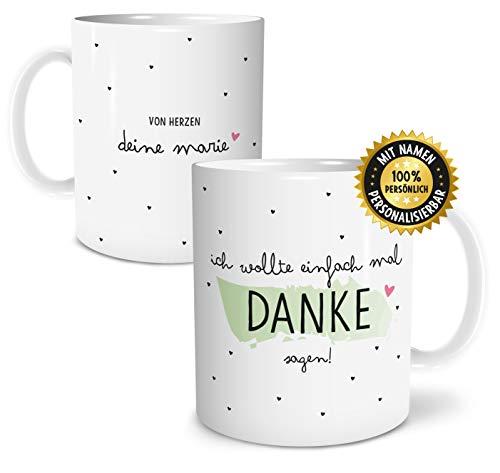 OWLBOOK Danke Sagen große Kaffee-Tasse mit Namen personalisiert im Geschenkkarton geliefert schöne Geschenkidee Geschenke für Deine Liebsten