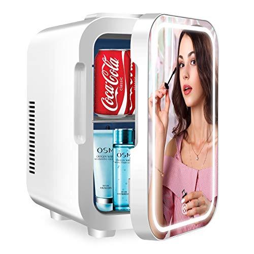 Mini nevera portátil (8 litros), con espejo de belleza con iluminación LED, pequeño refrigerador cosmético para dormitorio, ideal para cuidado de la piel y maquillaje, para oficina, dormitorio