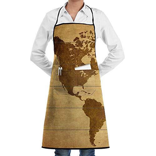 Bib Apron Delantal De Cocina Grande con Estampado De Mundo Negro Delantal...