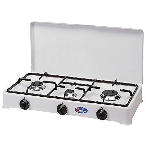 Réchaud de table Parker 2 feux Alimentation gaz GPL (GAS dans les bouteilles) Usage extérieur 2002CGP + Kit régulateur Italie