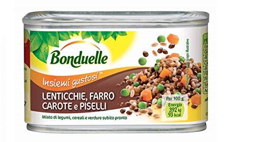 6x Bonduelle Misto di Legumi subito pronto Mischung aus Hülsenfrüchten, Getreide und Gemüse Linsen, Dinkel, Karotten und Erbsen Dosen Hülsenfrüchte 100% Italienisches Produkt 400g