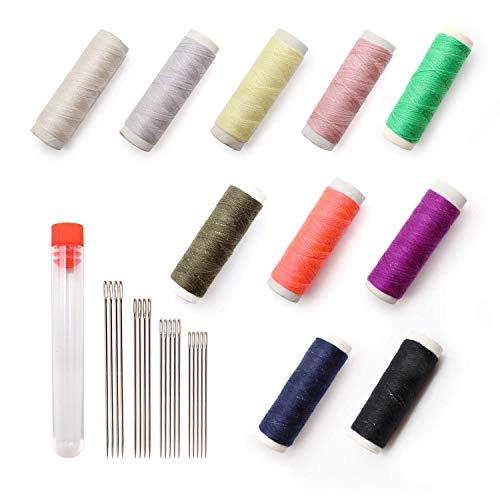 ARTISAN-SH 18 Piezas de Ojo Grande Agujas de Coser a Mano y 10 Colores de Coser Hilo Kit de Hilos Poliester, Hilo de Coser y Aguja Set para Manualidades, Bordado, Punto de Cruz, Zurcido