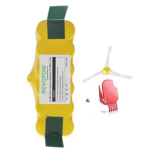 Revopow Ni-MH 3800mAh 14,4V Con Capacità Elevata APS Batteria di Ricambio compatibile per Roomba FloorVac Batteria Serie 500 600 700 800 900 R3 80501 4419696 Scooba 450 etc(Giallo)