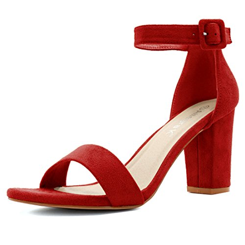 Allegra K Women's Open Toe Chunky High Heel Ankle Strap Sandals (Size US 8.5) Red