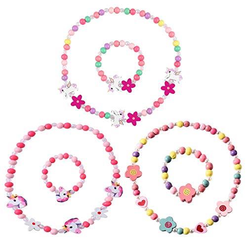 Juego de 6 piezas de collar de unicornio de madera, juego de joyas para niños, collar de pulsera, collar de princesa, juego de pulseras de madera, perlas de madera, cadena de madera para niñas