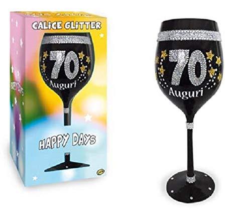 dor Calice Maxi 70 Anni in Vetro Nero con Stampa Glitter - Gadget Idea Regalo Festa 70° Compleanno