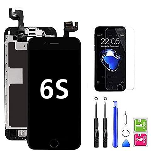 Hoonyer Für iPhone 6s Display Ersatzbildschirm LCD Touchscreen Display Vorinstallierte Frontkamera Näherungssensor Reparatur Kit Komplette Ersatzbildschirm mit Werkzeug (Schwarz)
