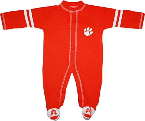 Clemson University Tigers Sports Shoe Footed Baby Romper Orange/White