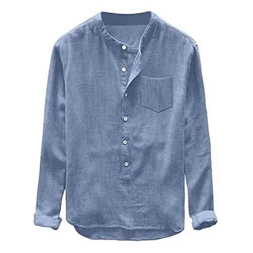 Camisa de Algodón y Lino de Manga Larga para Hombre Camisa Impresa Casual para Hombre con Bolsillo Core Stretch Slim Stripe Shirt Camisa Azul/Gris/Amarillo/Caqui/Verde con Botones M-3XL,Corte Recto