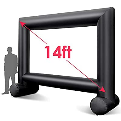 14ft Outdoor Projector Screen - TUSY Inflatable Movie Screen Outdoor Projection Screen for Party Games Home Theater Cinema with Fan, Storage Bag