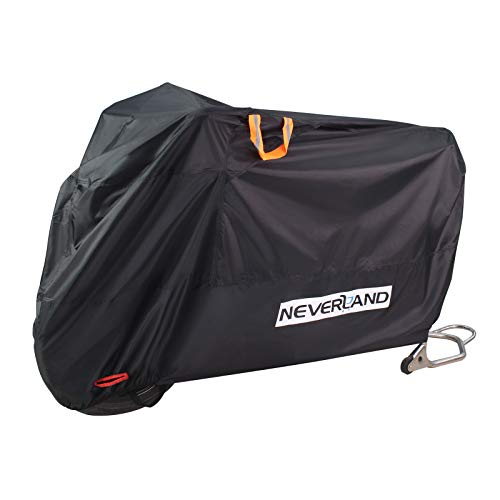NEVERLAND Motorbike Cover Waterproof Outdoor Heavy Duty Motorcycle Cover XXL 210D Thickened Oxford with Ventilated Grid Lock Hole Storage Bag for All Season Wind Rain Dust UV Protective(265*105*125cm)