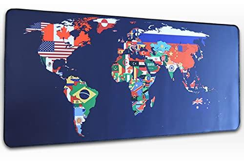 Tapis de Souris Gaming Premium Grand Format 900 x 400 x 3 mm Carte du Monde pour PC, Ordinateur Portable, Gamer, Bureau et Maison, Qualité Durable, Confortable et Caoutchouc Antidérapant, Vitesse