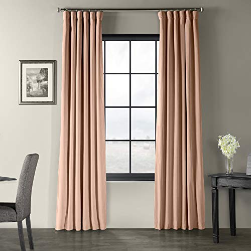 HPD Half Price Drapes VPCH-180409-96 Signature Blackout Velvet Curtain (1 Panel), 50 X 96, Rosey Dawn