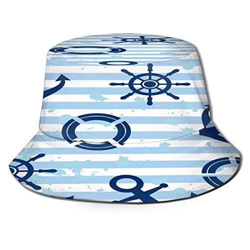 Unisex Bucket Sun Hats Vector Seamless Pattern Anchor Steering Wheel Fashion Summer Outdoor Travel Beach Fisherman Cap