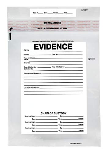 100pk Evidence Bags, 12″x16″ Transparent, Tamper Resistant Closure with Serialized Numbering – Secur-Pak
