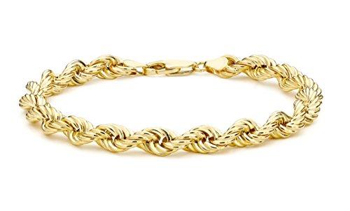 Carissima Gold Damen 9k (375) Gelbgold Hollow 6mm 120 PG Rope Kettenarmband 20cm/8zoll 1.22.0253