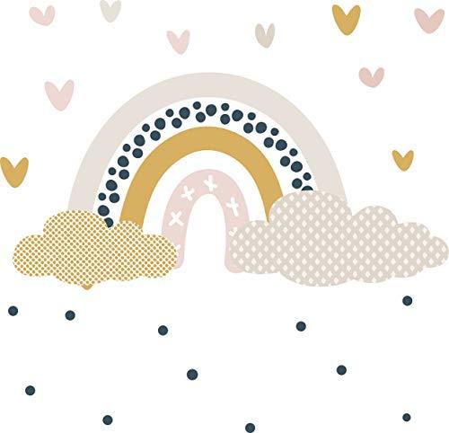 greenluup öko wandtattoo wandsticker Regenbogen Herzen Punkte dots skandinavisches Design blau beige rosa Kinderzimmer Schlafzimmer Babyzimmer (v1)