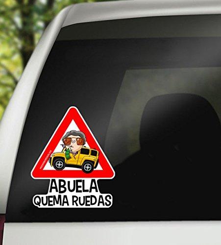 Vinilo coche - Missborderlike - Pegatina para coche - Abuela Quema Ruedas