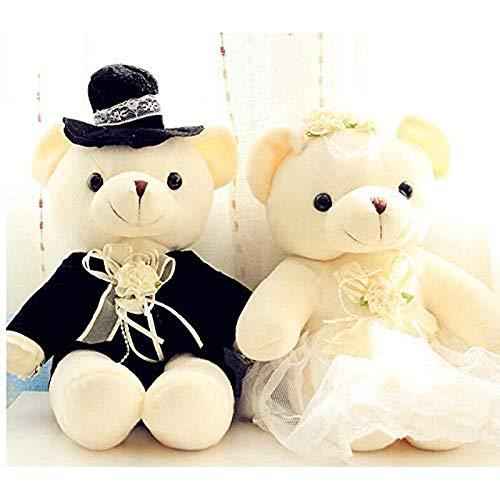 Vbtsqp Amantes furiosos románticos muñeco de Peluche de Juguete Boda Novia y Novio Amante 20cm (2 Piezas) B
